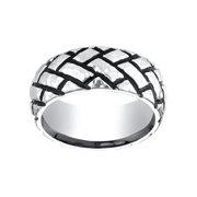 Men's Cobalt 9mm Hammered Tread Ring Size 7