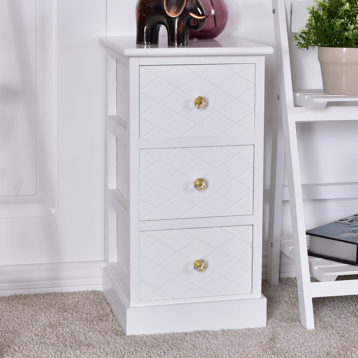 Costway 3 Drawer Wooden Bedside Cabinet Chest Table Storage End Table  Furniture
