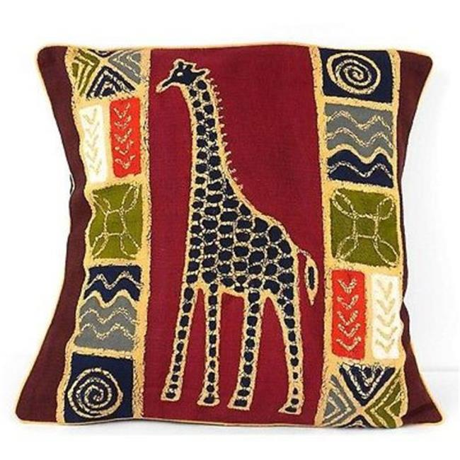 Tonga Textiles Handmade Colorful Giraffe Batik Cushion Cover