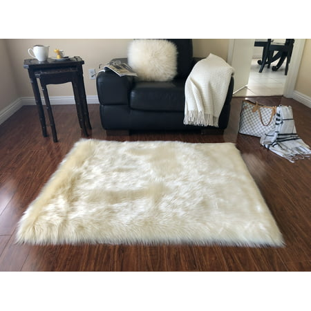 - Super Soft Faux Sheepskin Silky Shag Rug, Cream 3'6