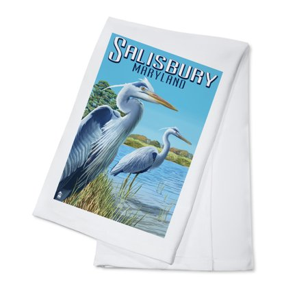 Blue Heron - Salisbury, Maryland - Lantern Press Poster (100% Cotton Kitchen Towel) - Party City Salisbury Maryland