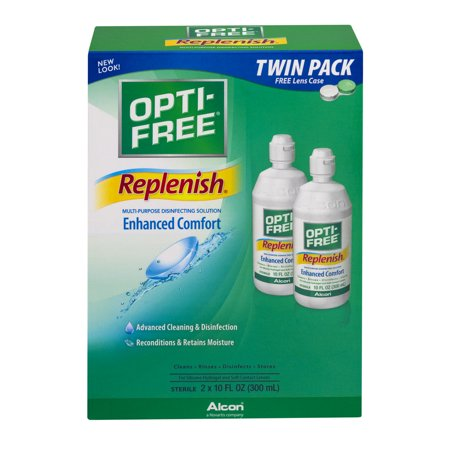 Alcon Opti Free Replenish Contact Lens Care Cleaning   Disinfecting Solution  2X10 Fl Oz