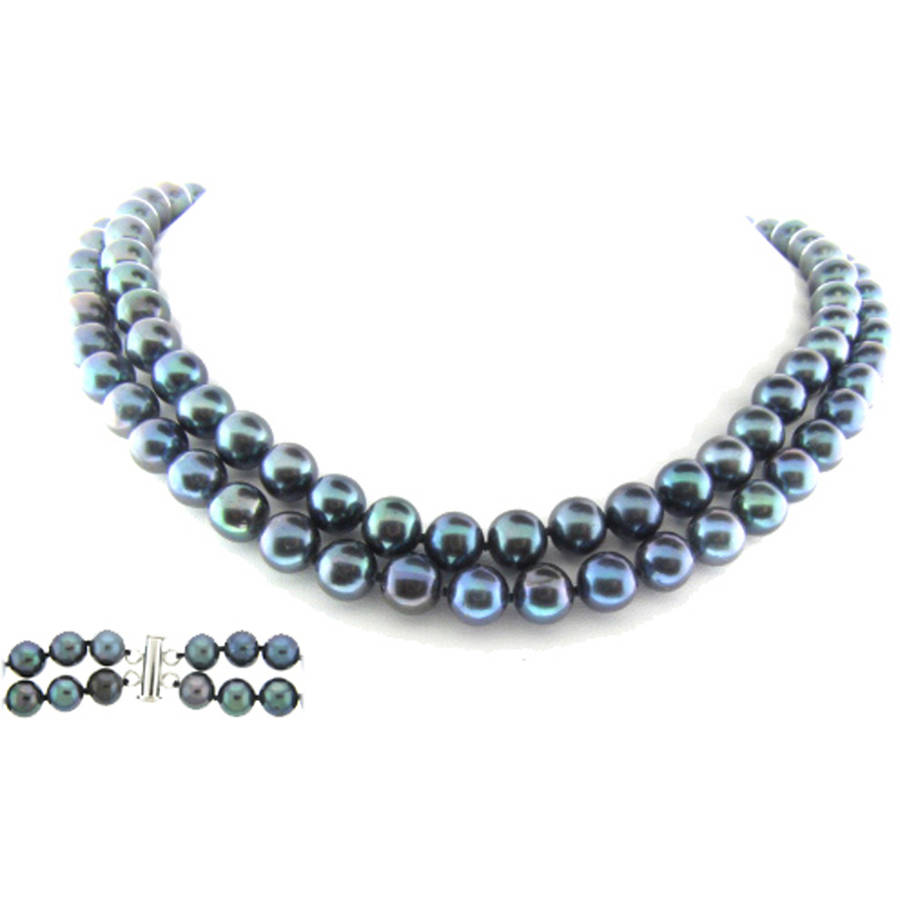 """Image of Black Freshwater Pearl Necklace for Women, Sterling Silver 2 Row 17"""" & 18"""", 8mm x 9mm"""