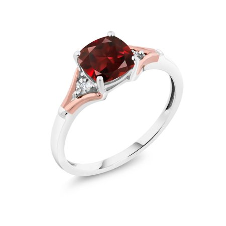 1.85 Ct Cushion Red Garnet and Diamond 10K Two-Tone Gold Ring - image 3 de 3