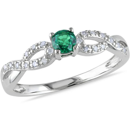Created Emerald Cross - 1/10 Carat T.G.W. Created Emerald and Diamond Accent Sterling Silver Cross-Over Ring