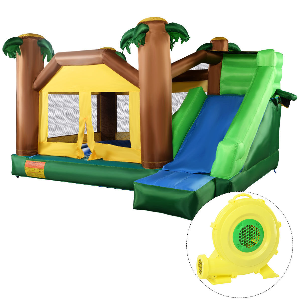 Costway Inflatable Jungle Bounce House Jumper Bouncy Jump Castle w/ 680W Blower