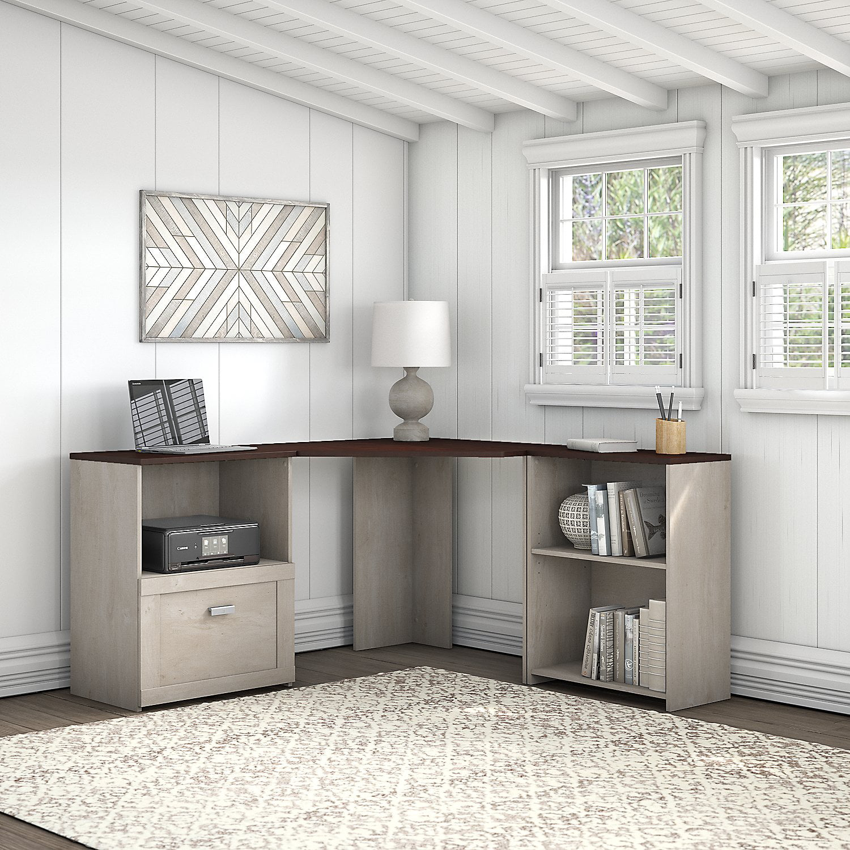 Bush Furniture Townhill Corner Desk with Bookcase and File ...