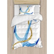 Anchor Duvet Cover Set, Watercolor Beach Things Artistic Coastal Design Ocean Adventure Journey, Decorative Bedding Set with Pillow Shams, Pale Blue Pale Coffee, by Ambesonne