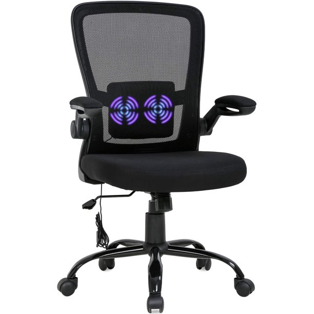 Home Office Chair Ergonomic Desk Chair Massage Computer Chair Swivel Rolling Executive Task Chair With Lumbar Support Arms Mid Back Nbsp Adjustable Mesh Chair For Women Adults Black Walmart Com Walmart Com