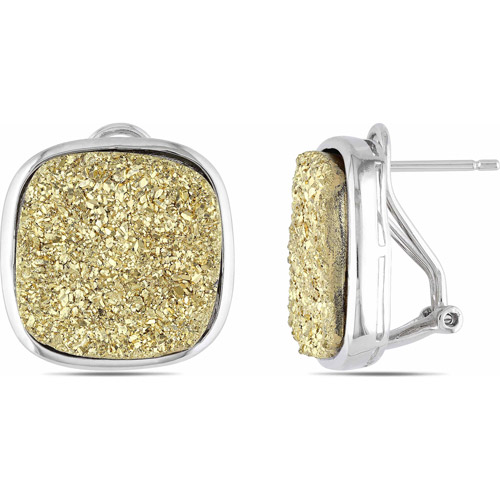 17.5mm Cushion-Shaped Gold Druzy Sterling Silver Clip-Back Earrings