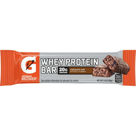 - Gatorade Recover Whey Protein Bar, Chocolate Chip, 20g Protein, 12 Ct