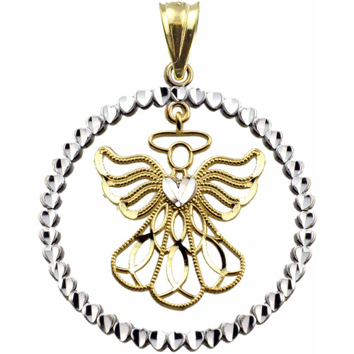US GOLD Handcrafted 10kt Yellow Gold Angel Charm Pendant