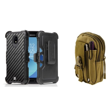 Rugged Case Holster Combo for Samsung Galaxy J3 Orbit (Carbon Fiber) with Khaki Tactical Utility Pack and Atom Cloth for Samsung Galaxy J3 (Khaki Combo)
