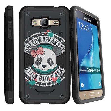 Samsung Galaxy J3  Galaxy Sky Dual Layer Shock Resistant Max Defense Heavy Duty Case With Built In Kickstand   Panda Varsity