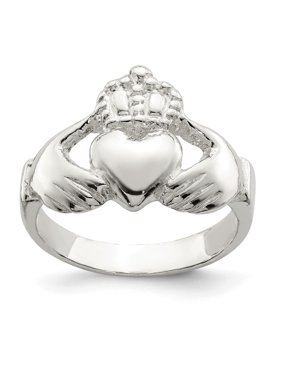 96e3c0558c1 Product Image 925 Sterling Silver Irish Claddagh Celtic Knot Band Ring Size  8.00 For Women