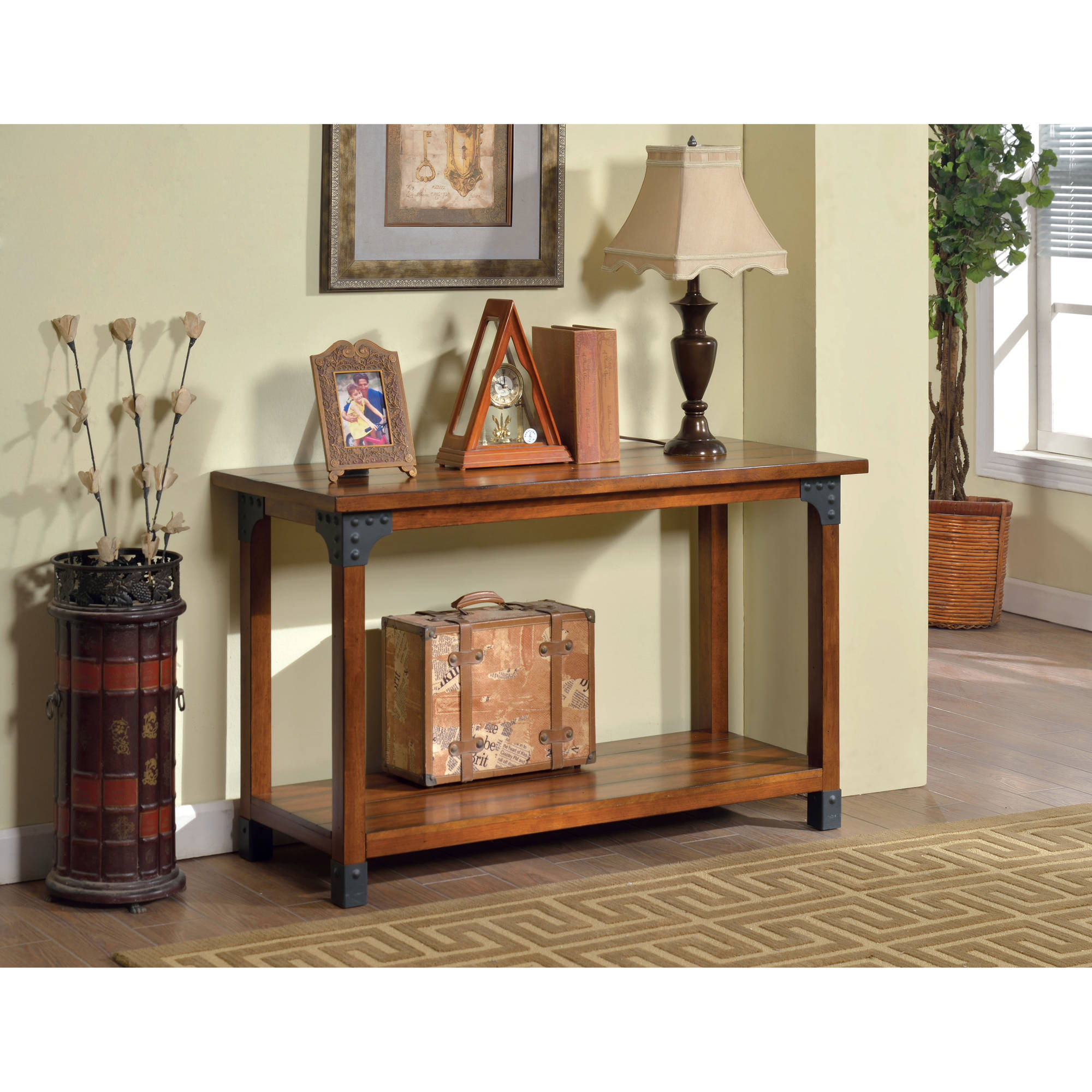 Furniture of America Firkins Country Sofa Table, Antique Oak
