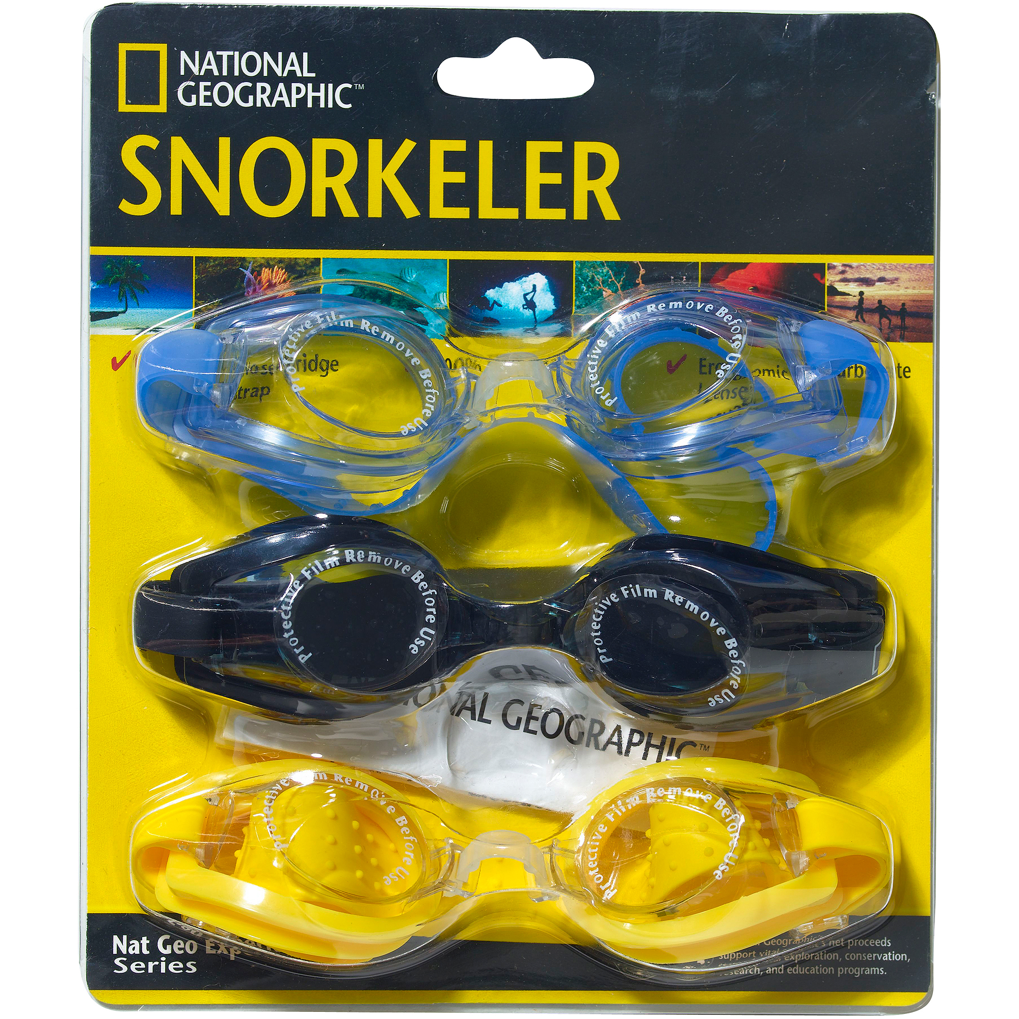 National Geographic Snorkeler Swim Goggle 3-Pack with Adjustable Nose Bridge