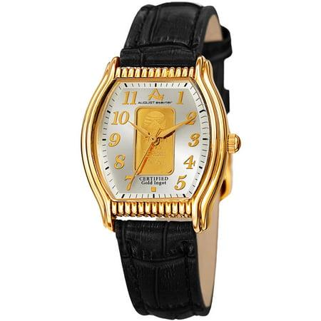 - Women's Quartz Luxury Gold Leather Black Strap Watch with FREE Bangle