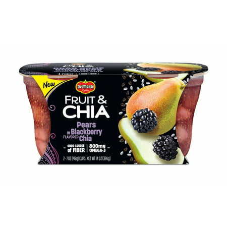 (4 Cups) Del Monte Fruit & Chia Pears in Blackberry Flavored Chia, 7 oz