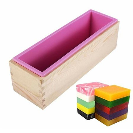 Rectangular Soap Silicone Loaf Mold With Wood Box DIY Tool For Soap Baking Making Supplies ()