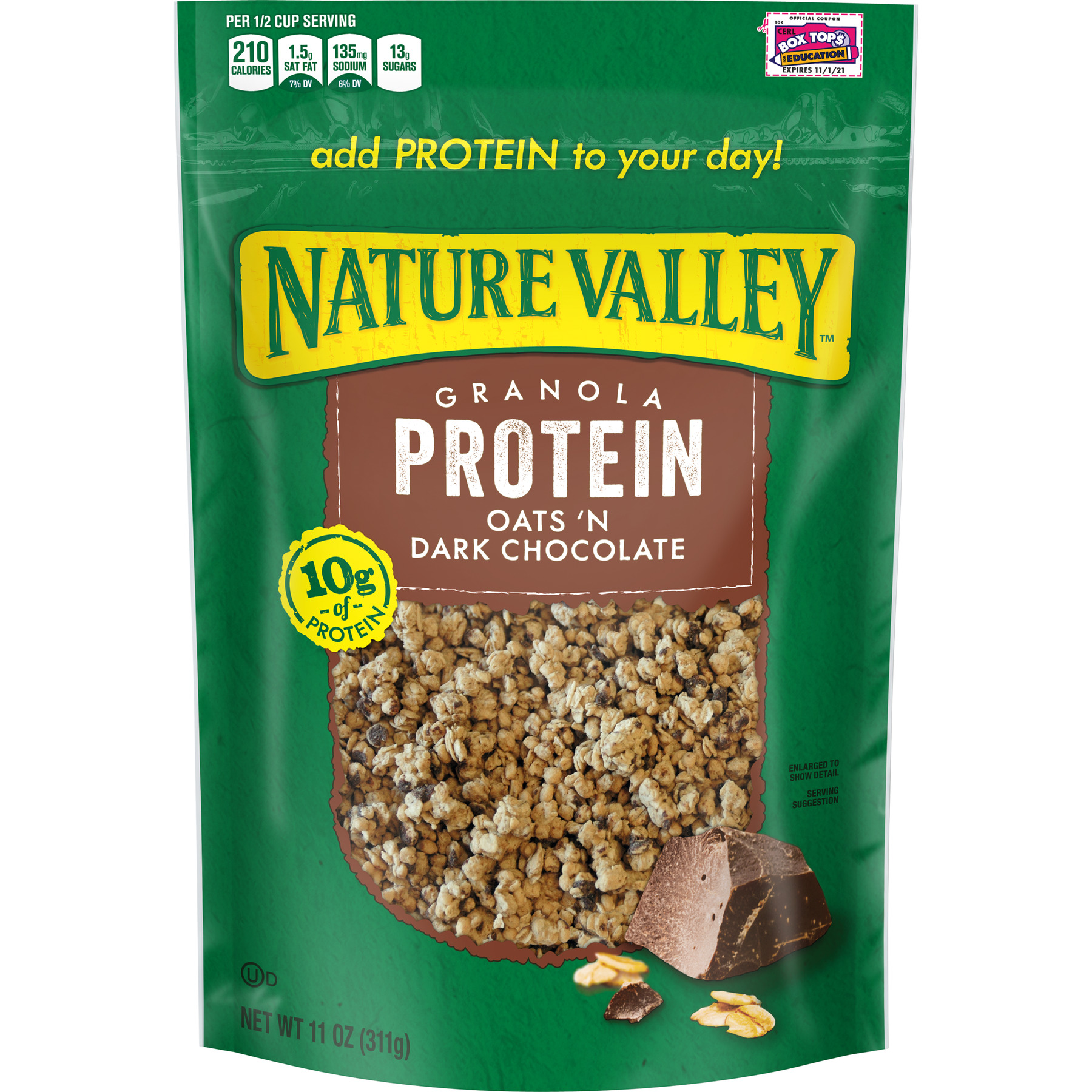 (2 Pack) Nature Valley Granola, Protein, Oats N' Dark Chocolate, Crunchy Granola Bag, 11 oz