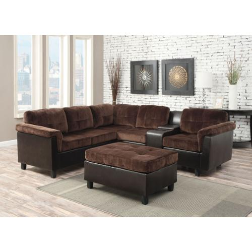 Cleavon Reversible Sectional Sofa in Chocolate Champion