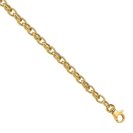 Primal Gold 14 Karat Yellow Gold 7.5 Inch Polished Fancy Link Bracelet