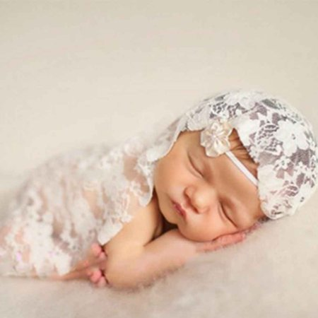 2019 Hot Sale Newborn Lace Embroidery Baby Photography Wraps Blanket Props Photo Wraps Lace Scarf with Flower Headband