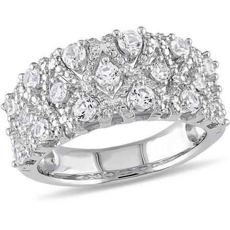 Miabella 1-1/3 Carat T.G.W. Created White Sapphire Sterling Silver Fashion Ring