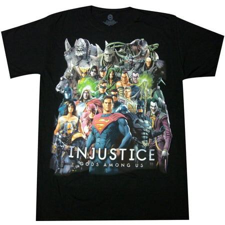 DC Comics Injustice Gods Among Us Adult T-Shirt (Injustice Gods Among Us Full Character Roster)