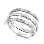 Open Spiral Thumb Unique Ring ( Sizes 5 6 7 8 9 10 ) New .925 Sterling Silver Band Rings by Sac Silver (Size 6)