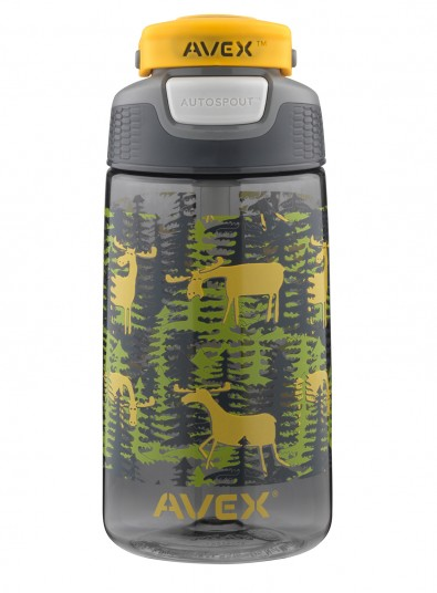 16 OZ. FREERIDE AUTOSEAL KIDS WATER BOTTLE GRAY MOOSE CAMO GRAPHIC by Ignite