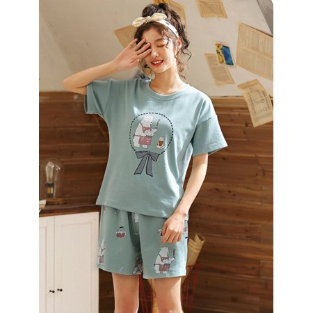 Maraso Women Cute Cartoon Print Short Sleeve Two-Piece Pajamas Home Clothing Wear + Shorts - Cute Teen Pajamas