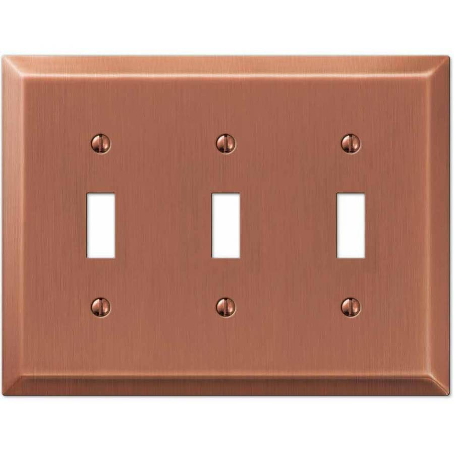 Century Antique Copper Steel Triple Toggle Wallplate