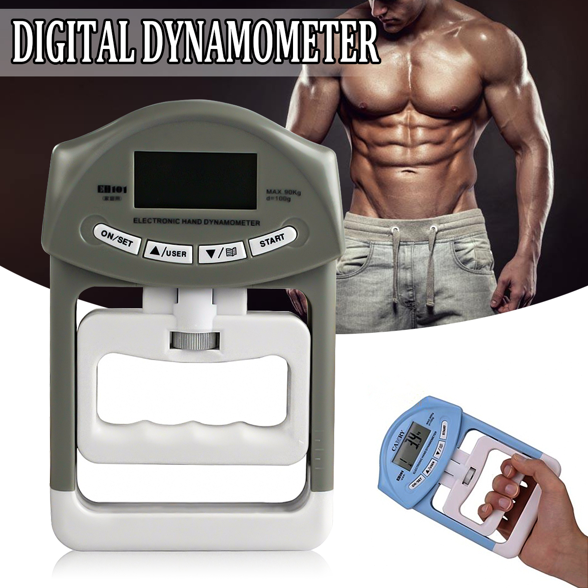 Digital Electronic Hand Grip Strength Dynamometer Meter with Large LCD Measuring range 90kg/198Ib Grip Strength Measurement Meter Auto Capturing Hand Grip Power Device
