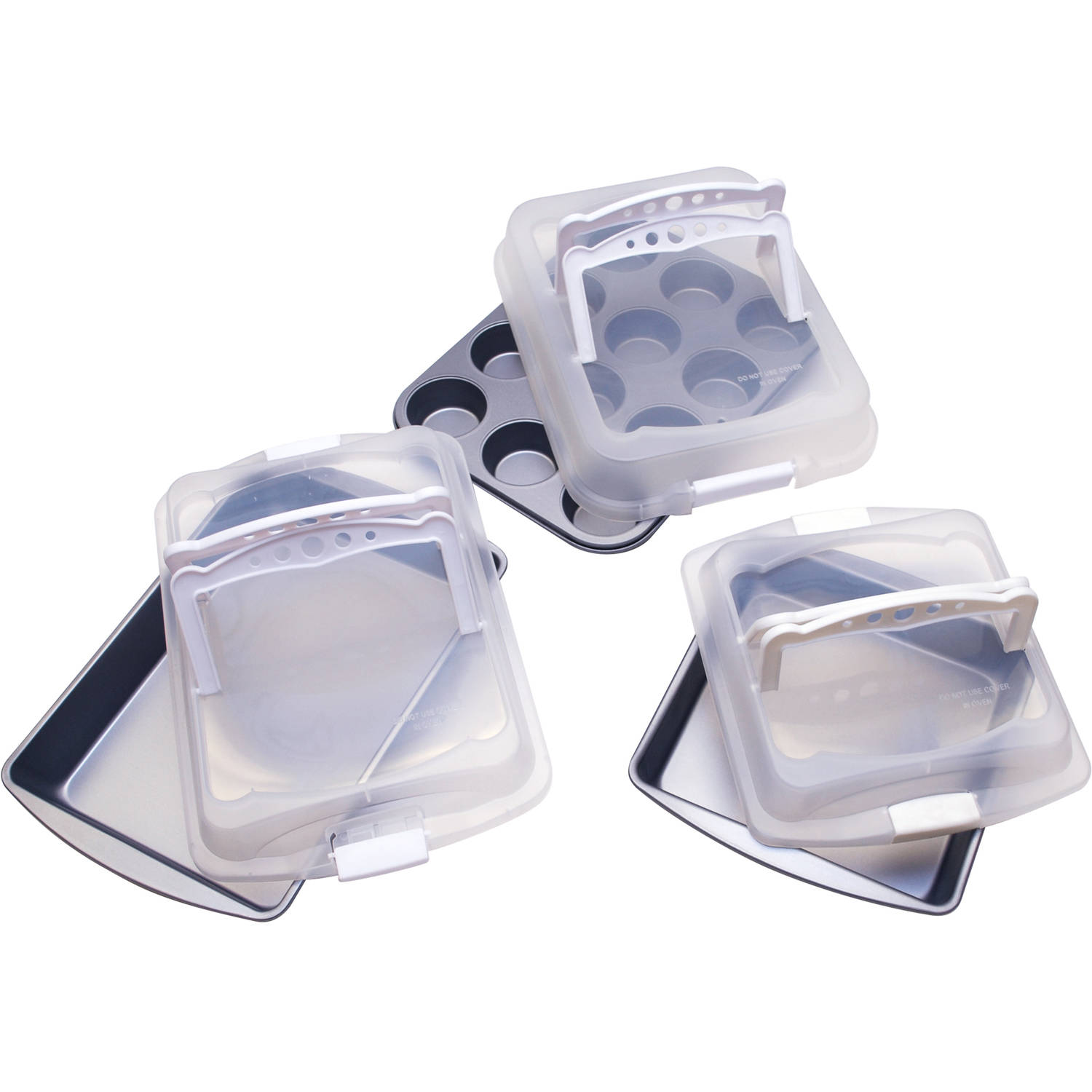 BakerEze Non-Stick 6-Piece Covered Bakeware Set with Handles