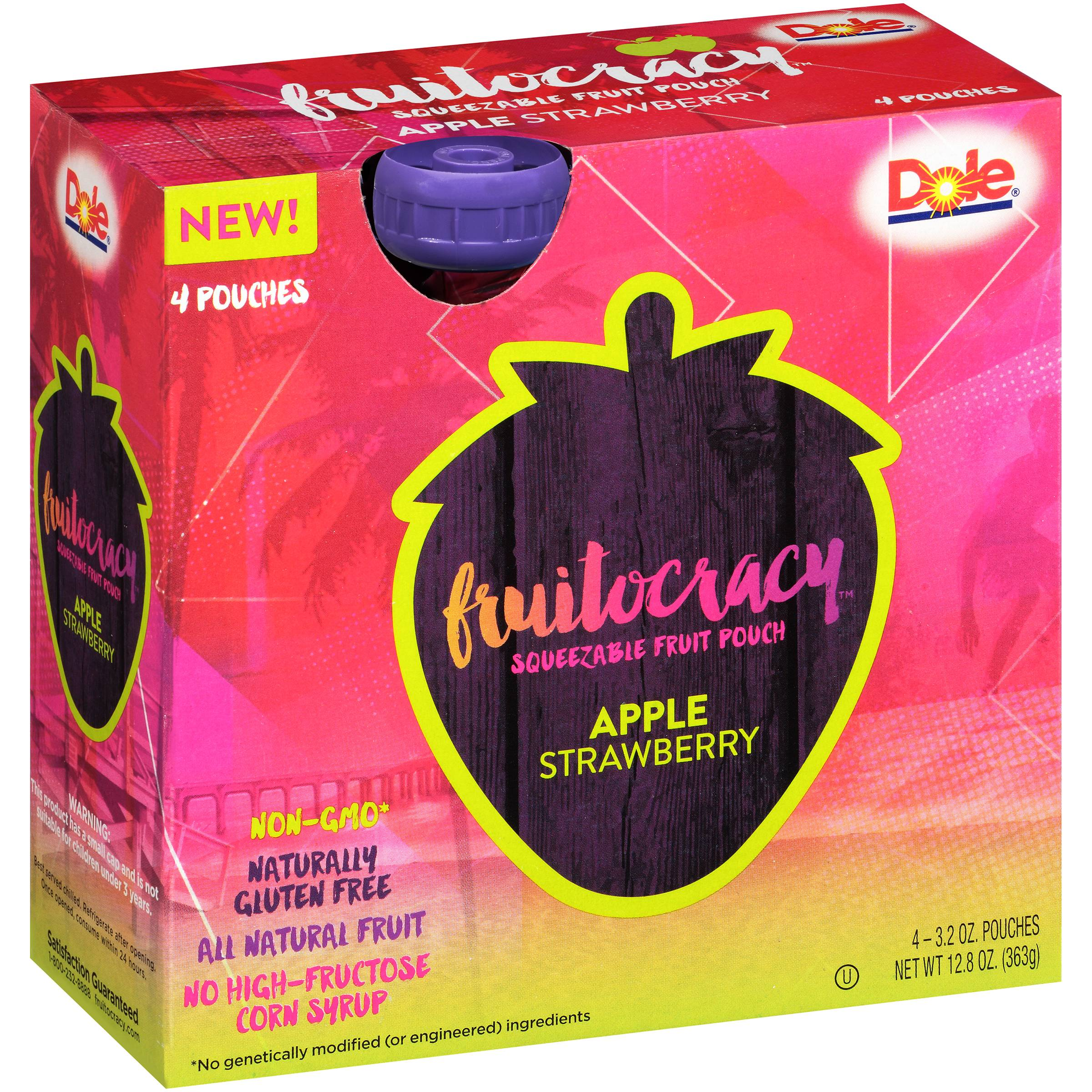 Dole® Fruitocracy™ Apple Strawberry Squeezable Fruit 4-3.2 oz. Pouches