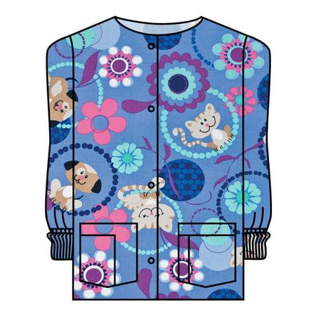 Landau Women's Crew Neck Warm-Up Pet Print Scrub Jacket (Holiday Print Scrub Jacket)