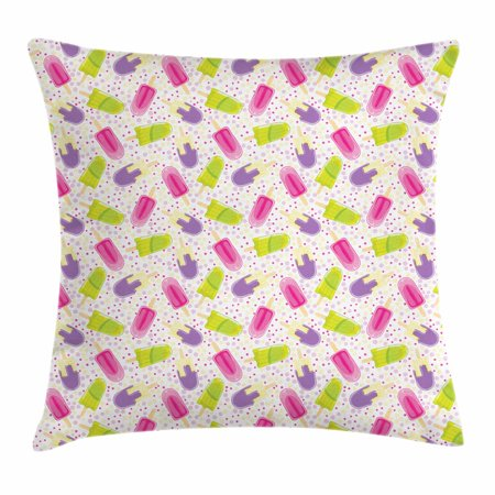 Ice Cream Throw Pillow Cushion Cover, Popsicles in Cartoon Style Scattered on Polka Dot Background Yummy Fresh Frosting, Decorative Square Accent Pillow Case, 18 X 18 Inches, Multicolor, by Ambesonne (Polka Dots Background)