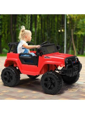 Zimtown Safety 12V Battery Electric Remote Control Car, Kids Toddler Ride On Truck Toy Motorized Vehicles, Wheels Suspension, Seat Belts, LED Lights and Realistic Horns Red