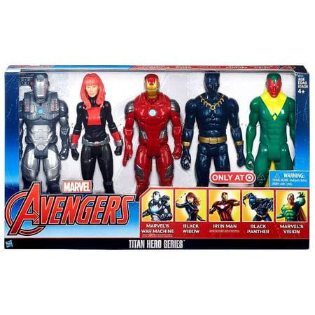 War Machine, Black Widow, Iron Man, Black Panther & Vision 12 Inch Action Figure 5-Pack (Mad Machine)