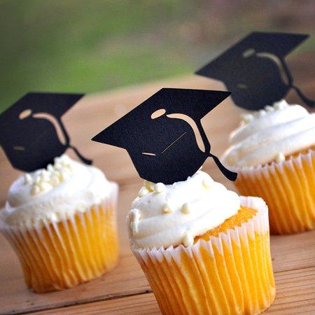 Graduation Party Cap - Graduation Cap Cupcake Toppers. Ships in 1-3 Business Days. Graduation Party Decor.