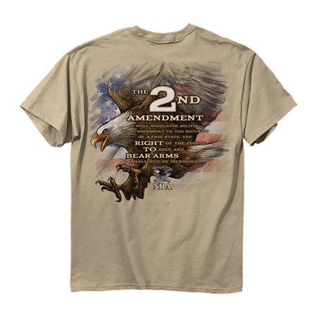 NRA T-Shirt Eagle 2nd Amendment Right To Bear Arms Sand T-Shirt (Nra Silhouette)