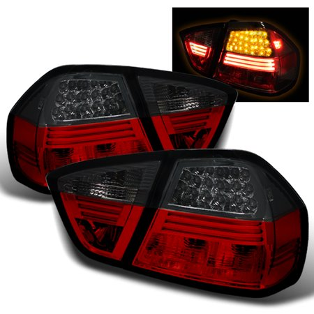 - Fits 2005-2008 06 07 BMW E90 3-Series 4Dr Red Smoked LED Tail Lights Lamps Pair