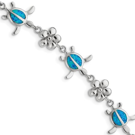 Sterling Silver Created Blue Simulated Opal Inlay Tortoise With Flower Bracelet - 7 Inch Blue Created Opal Inlay Bracelet