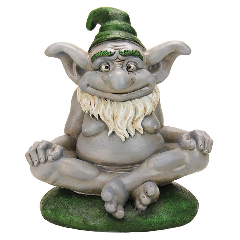 Exhart Elder Troll Garden Statue in a Yoga Pose by Exhart Environmental Sales Inc