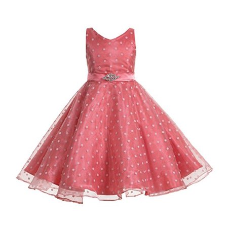 Polka Dot Flower Girl Dresses (Ekidsbridal Polka Dot V-Neck Rhinestone Organza Flower Girl Dress Special Occasion Dresses Girls Dress Formal Recital Party Wedding Pageant Ball Gown 184s)