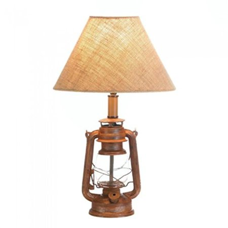 Vintage-Look Camping Lantern Table Lamp, Fantastic iron lamp features an old-style lantern as the base. By Tom Co