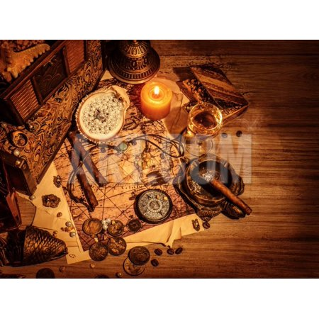 Kids Wooden Usa Map (Closeup of Pirates Booty on Wooden Table, Cigars Smoke, Glass of Wine, Map with Way to Search Treas Print Wall Art By Anna Omelchenko )