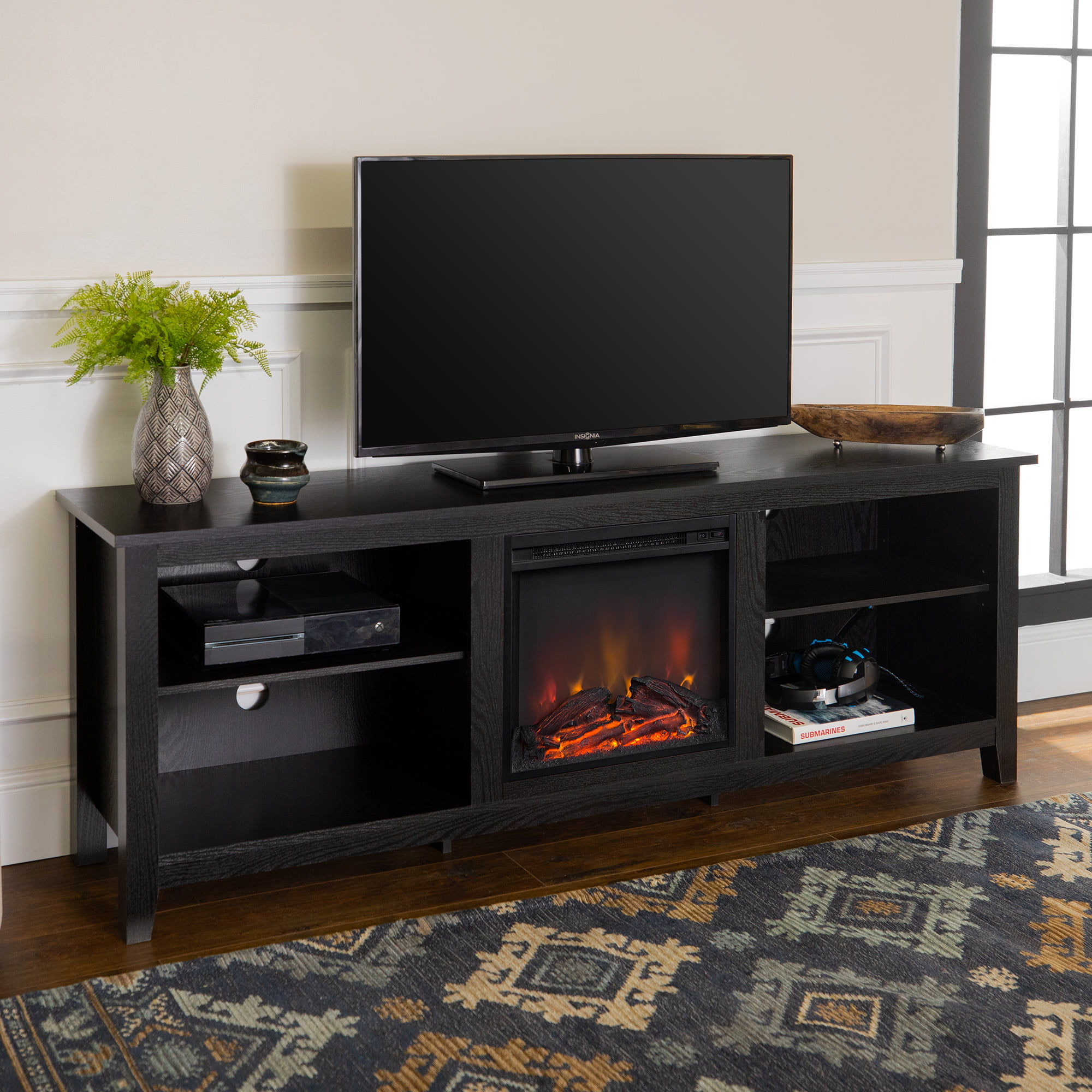 Woven Paths Open Storage Fireplace TV Stand for TVs up to 10